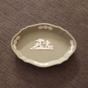 Wedgwood Green Soap Dish with angels and florals